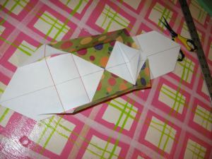 fold and glue flaps to the center