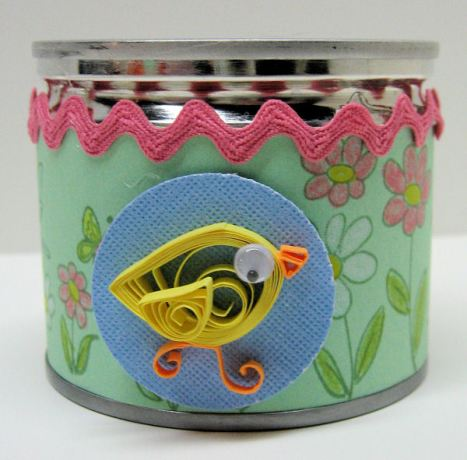 Quilled bird votive holder