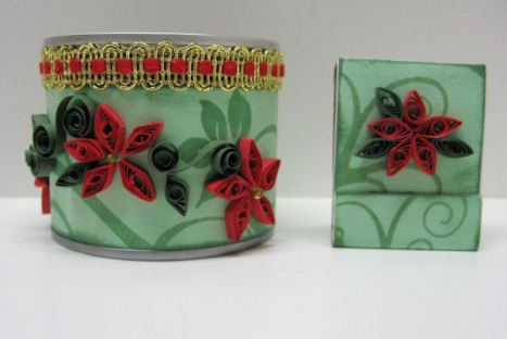 votive holder with quilled pointsettias and matchbook