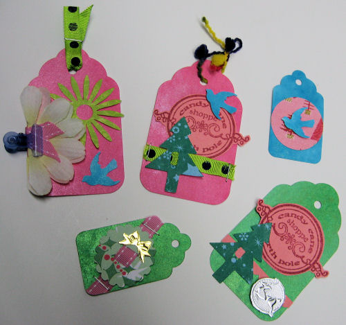 Use leftovers to make cute holiday gift tags! Hey, it beats cleaning!
