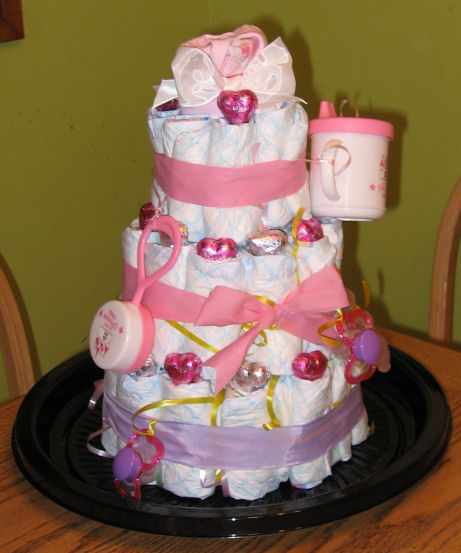 My first diaper cake...I'm so proud of myself!