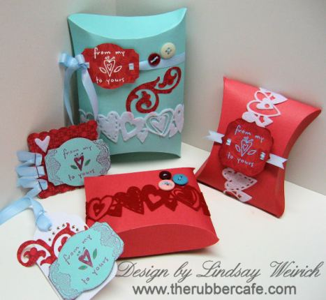Pillow Boxes By Lindsay Weirich 2009 Supplies SCAL Cricut Stamps The Rubber Cafe