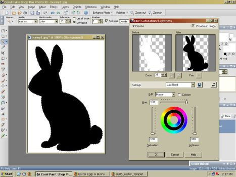 Desaturate (make black) the bunny.