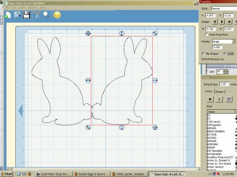 "The file is imported, to make the card copy and paste the bunny. Flip one of the bunnys and make sure you check ""weld"" for each and linke them up at the tails like this and cut."