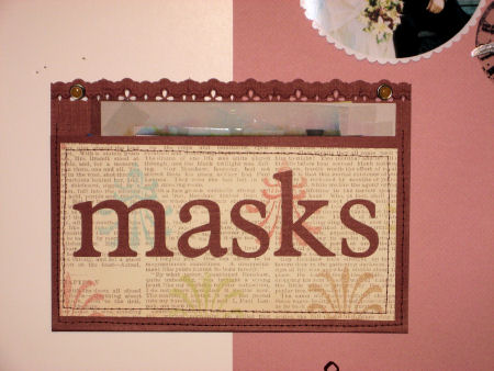 I stitched this pocket to hold oft-used stencils and masks, yes, I made it with the cricut!
