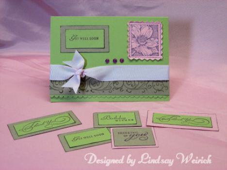 Cardstock, wheel and flower stamp: Stampin UP, Ribbon: Dollar Tree, Sentiments: Inkadinkado