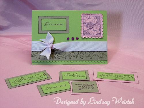 Cardstock, wheel and flower stamp: Stampin UP, Ribbon: Dollar Tree, Sentiments: Inkadinkado