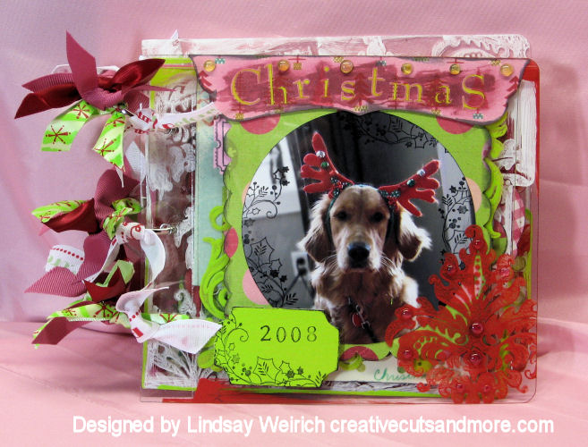Nothing says Christmas like a dog in antlers! The title is done in Rub-ons from Tinkering Ink then I painted red watercolor over them to make them pop. The waxy rub-on resists the paint!
