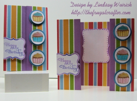 Double Gate-Fold Cards closed and open. Paper: Die Cuts With a View (the glitter stack), Stamps: Inkadinkado, Crafty Secrets