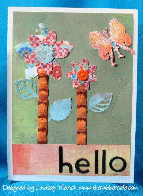 Flower Template: Basic Grey, Leavs: Cricut, Hello: Sizzix, Stamp: The Rubber Cafe