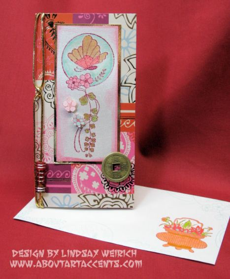 Money holder: Dollar Tree, Stamp: About Art Accents, Ink: Stampin Up, Emb. Powder: Jo Anns, Markers: LePlume, Whispers, Tombow