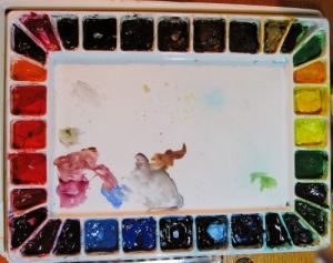 Buy quality paint ans store it in a pallette like this and you will save lots of time and money!