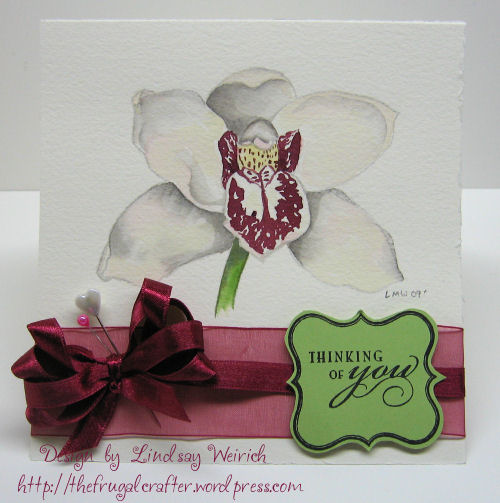 Orchid Digi Stamp: Lindsay's Stamp Stuff, Clear Stamps: Inkadinkado, Watercolor Paper: Arches, Ink SU!, Other: Ribbon