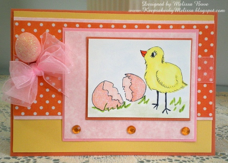 Melissa Bove created this lovely card with a pretty yet surprising color combination.