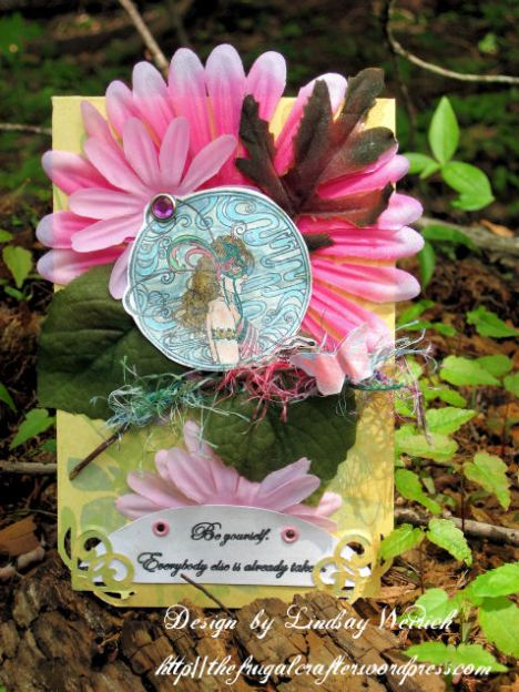 Stamps: About Art Accents, Paper: K&co, Ink: SU! other: twig, yarn, silk flowers, brad, shimmer spray