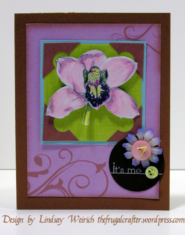I used the Birthday kit and the Sketchy Orchid stamp on this.