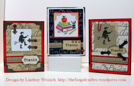 these 3 cards were made with the freebie cardkit printed once, the middle card uses the freebie digital stamp (Lindsay's Stamp Stuff) other rubber stamps are by Inque Boutique.