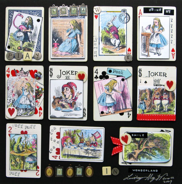 Alice ATC Images: Lindsay's Stamp Stuff, Accent stamps: Making Memores, Studio G, Letters JoAnns, Micheals, Other: Old Playing cards, ribbon, DYMO tape