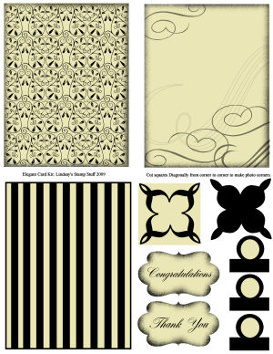 Lindsay's Stamp Stuff Card Kit: Elegant Black and Cream