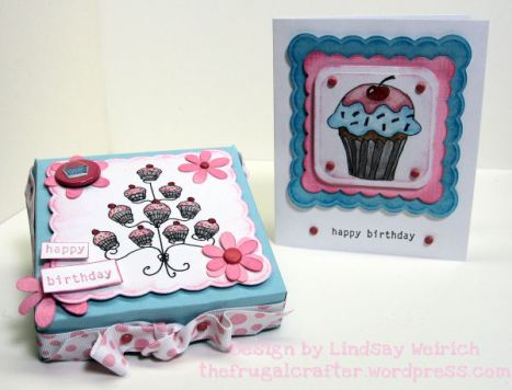 Digital Stamps: (cupcakes) Lindsays Stamp Stuff, Rubber Stamp (happy birthday) Stampin Up, Die Cuts: Cricut (Accent Essentails) Cardstock: DCWV