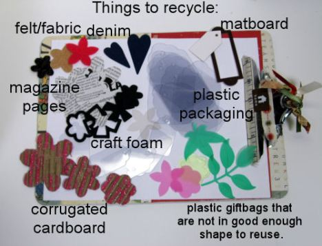Some recycling ideas. All items were cut using the Ellison Big Shot with Ellison and Sizzix dies.