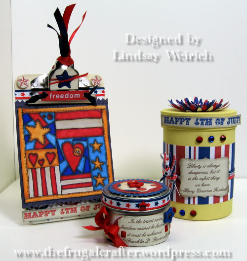 Stamps and papers: Lindsay's Stamp Stuff, Clipboard, box: AC Moore, Tin: Dollar Tree, Ribbbon: Target