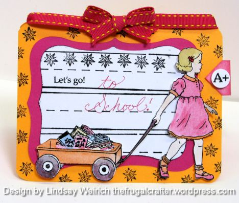 Stamps: Pink Persimmon, Little Red Wagon set, Cardstock: The paper Co, Ribbon: Target, Paint: M Graham
