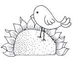 Primative Bird on Sunflower