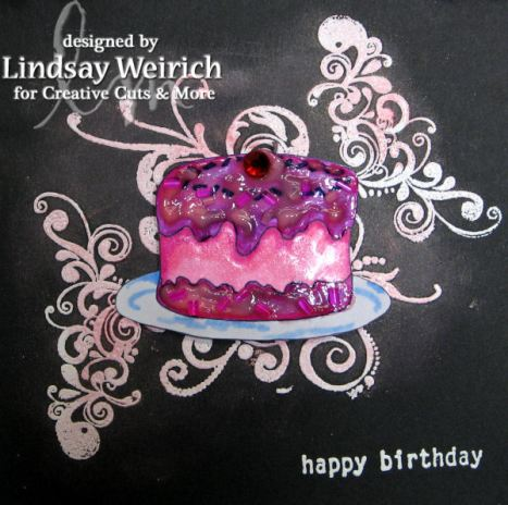 "Cake Stamp: Lindsay's Stamp Stuff, Swirl stamps: Autumn Leaves, ""Happy Birthday"" Stampin up, Paint Elmers, Markers: Bic, Metallic rub-on wax: Craf-T Products"