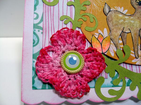 Here is the dyed crochet flower! {and anoter one of my dollar Tree brads!}