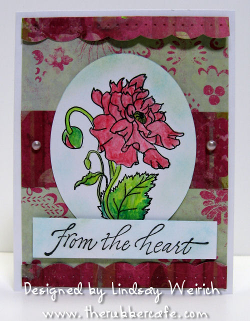 """Stamps: The Rubber Cafe, Cardstock: GP, PP: K&Co., Other: Hot glue """"pearls"""" Tool: Scor-Pal, Scor-bug"""