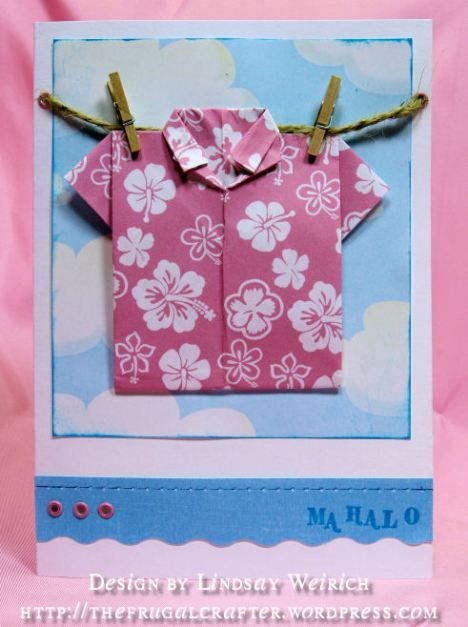 Hawaiin Paper: Lindsay Weirich Freebie, see downlod link above, Blue Clouds: DCWV, Bitty Letter Stamps: Studio G