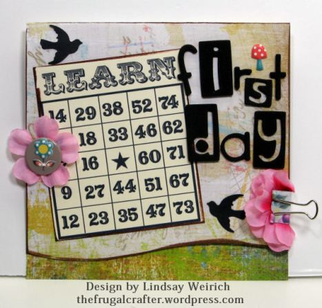 Printable Bingo Card: Lindsays stamp Stuff, Letters: Sizzix bar dies used with craft foam, punch: Martha Stewart