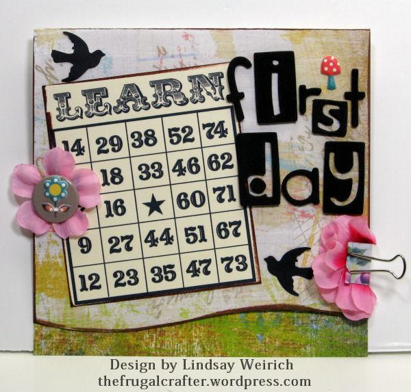 Printable Bingo Card: Lindsays stamp Stuff, Letters: Sizzix bar dies used with craft foam, punch: Martha Stewart