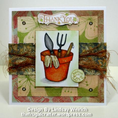 Digital Stamp (Garden Tools) Lindsay's sTamp Stuff, Paper: K&Co., Rubber stamps: (thankyou) PSX, (with love) Inkadinkado, Other: Elelets and yarn