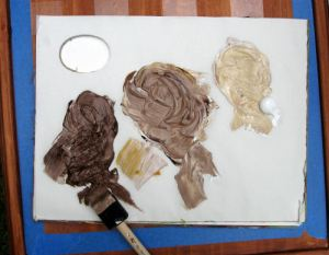 Mix 3 shades of brown using white, burnt umber and yellow ochre.