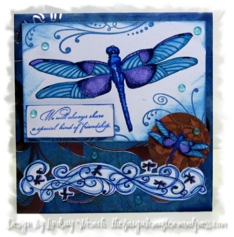 Digital Stamps: (dragonflies and swirl border)Lindsay's stamp Stuff, Pattern Cardstock: DCWV (Rock Star Stack) Rubbewr stamp: The Rubber Cafe (flueradidy), Inque Boutique (Special Friend saying), other: Hot glue drops