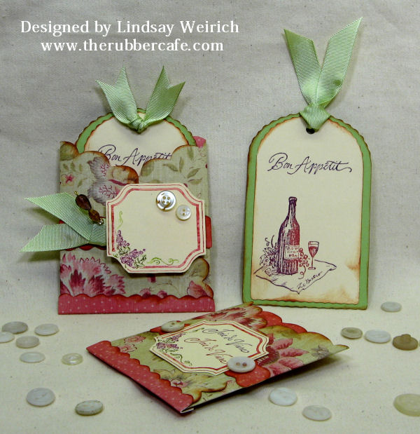 Stamps: The Rubber Cafe, Paper: K&Co, Other: ribbon, beads, eyepin, vintage buttons