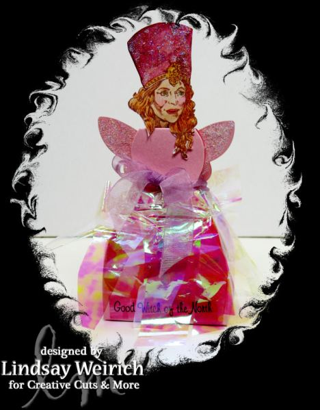 Are you a good witch, or a bad witch? Glenda is my favorite! I used the Angel diecut and trhe dress box cut from pearly pink cardstock to make her! Did you know the actress who playes Glenda was 51 when she played the part, I'll have whatever she's having!
