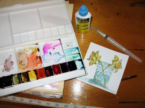 Let the alcohol ink dry in the palette before using. I used Piniata and Ranger inks.