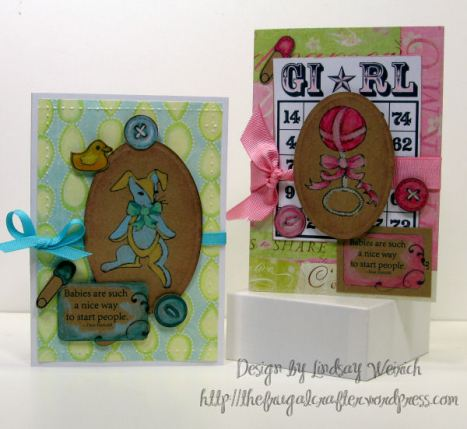 My card based on the sketch at ICS! Stamps: Babies and Bows collection from Lindsay's stamp Stuff.