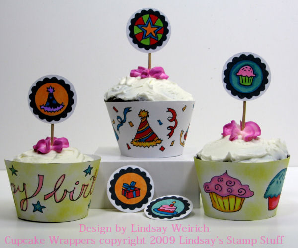 Digital Stamps/Cupcake wrapper template:  Lindsay's stamp Stuff, Markers: Bic Mark its