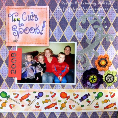 "The candy border (bottom of page) is your freebie this week (YUM!) I reduced it in size and pasted it twice to stretch across this 8""x8"" page. It is designed to repeate well ;)"