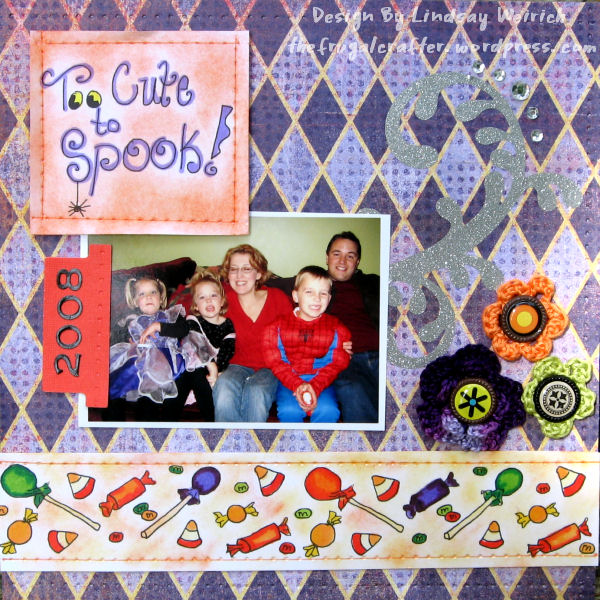 """The candy border (bottom of page) is your freebie this week (YUM!) I reduced it in size and pasted it twice to stretch across this 8""""x8"""" page. It is designed to repeate well ;)"""