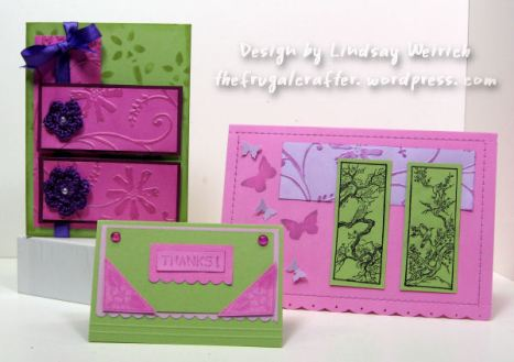 Stamps: About Art Accents, Cardstock: SU!, Paper Co, DCWV, Embossing folder: Cuttlebug, Tool: Scor-Pal/scor-bug, other: Homemade dew drops and crocheted flowers