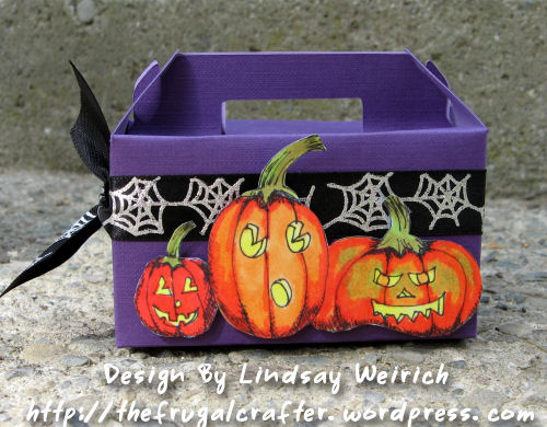 This little box is the perfect size to stuff with candy for Trick-or-Treaters and it only takes a half a sheet of 12x12 cardstock and 5 minutes to make!