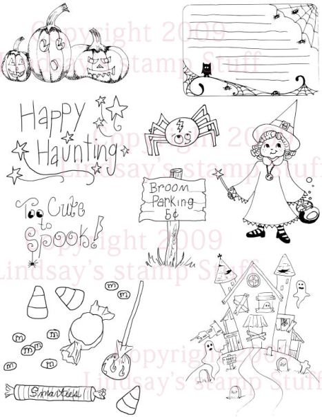 Cute Halloween Set: Lindsay's Stamp Stuff, 9 stamps for only $5!