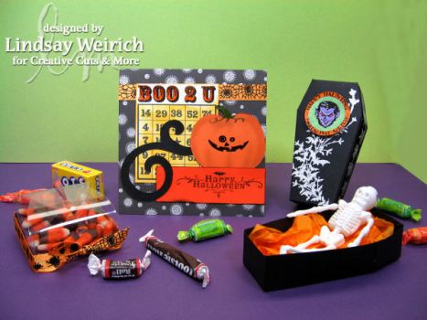 Die Cuts: CC&M, Digital Stamps (bingo card, circle frame on coffin) Lindsay's Stamp Stuff, Rubber Stamps: (pumpkin Face) Provocraft, (Dracula, Happy Halloween, Bats) Inkadinkado