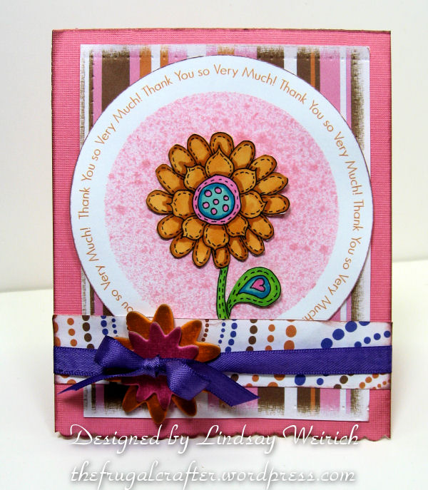 I placed my doodle daisy stamp in the center on this one. The pattern paper is a freebie!