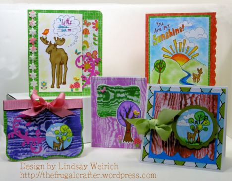 This week I used stamps from the Funky Forest set to make scenes. Learn how below.